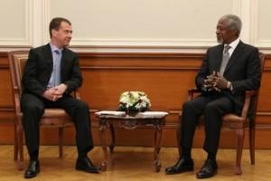 Dmitri Medvedev si Kofi Annan