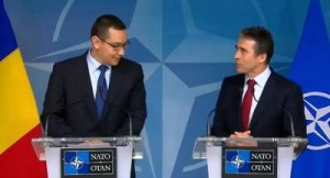 Victor Ponta si Anders Fogh Rasmussen la sediul NATO