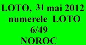 LOTO, 31 mai 2012 – Numerele la LOTO 6/49 si NOROC