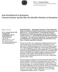 Comunicat Susanne Kastner