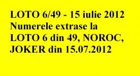 LOTO, 15 iulie 2012 – Numerele la LOTO 6/49 si NOROC