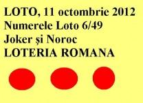 LOTO, 11 octombrie 2012: Numerele Loto 6/49, Joker şi Noroc