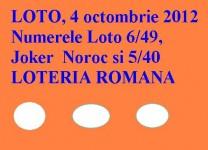LOTO, 4 octombrie 2012: Numerele Loto 6/49, Joker şi Noroc
