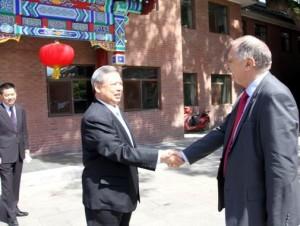 Primirea liderului EURISC - la Institutul Poporului Chinez pentru Afaceri Internaţionale -, de către vicepreşedintele Peng Keyu