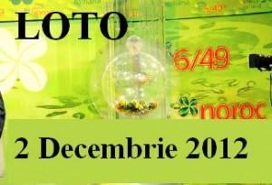 Loto 2 decembrie 2012 - numere loto 6 din 49 Joker si Noroc
