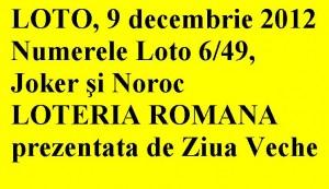 LOTO, 9 decembrie 2012: Numerele Loto 6/49, Joker şi Noroc