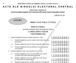 Rezultatul alegerilor parlamentare - publicat în MO