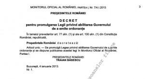 Basescu decret Monitorul Oficial
