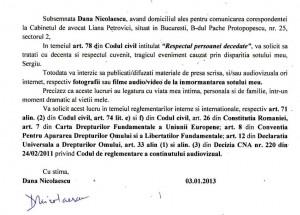 Comunicat presa Dana Nicolaescu vaduva Sergiu Nicolaescu