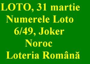 LOTO, 31 martie 2013: Numerele Loto 6/49, Joker şi Noroc sport