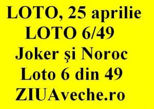 LOTO, 25 aprilie 2013: Numerele Loto 6/49, Joker şi Noroc sport