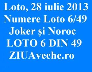 LOTO 6 DIN 49 NUMERE LOTO DUMINICA 28 IULIE 2013