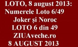 LOTO, 8 august 2013: Numerele Loto 6/49, Joker şi Noroc