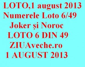 LOTO, 1 august 2013: Numerele Loto 6/49, Joker şi Noroc sport