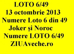 LOTO 6/49, 13 octombrie 2013.
