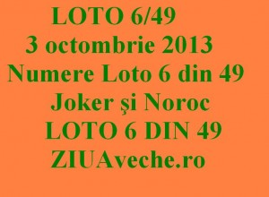 LOTO 6/49, 3 octombrie 2013.