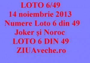 LOTO 6/49, 14 noiembrie 2013. Numere Loto 6 din 49, Joker şi Noroc sport