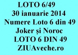 LOTO 6/49, 30 ianuarie 2014. Numere Loto 6 din 49, Joker şi Noroc sport