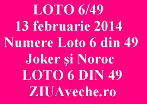LOTO 6/49, 13 februarie 2014