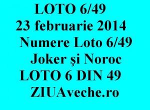 LOTO 6/49, 23 februarie 2014. Numere Loto 6/49, Joker şi Noroc sport