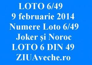LOTO 6/49, 9 februarie 2014. Numere Loto 6/49, Joker şi Noroc sport