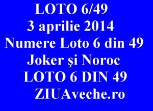 LOTO 6/49, 3 aprilie 2014. Numere Loto 6 din 49, Joker şi Noroc sport rss 1asig