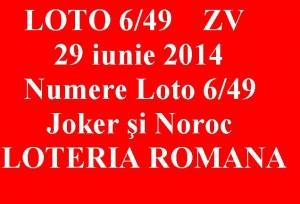 LOTO 6  din 49, 29 iunie 2014