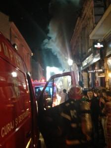 Incendiu puternic in Centrul Vechi al Capitalei