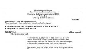 BACALAUREAT 2014. Subiecte limba română