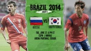 Campionatul Mondial de Fotbal 2014. Rusia - Coreea de Sud, scor 1-1
