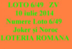 LOTO 6 din 49, 10 iulie 2014