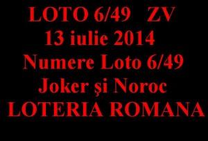 LOTO 6 din 49, 13 iulie 2014
