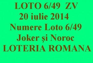 LOTO 6 DIN 49, 20 iulie 2014. Numere Loto 6/49, Joker şi Noroc