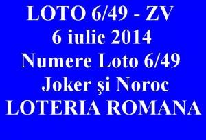 LOTO 6 DIN 49, 6 iulie 2014