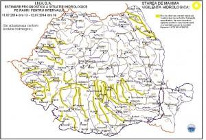 COD GALBEN de inundaţii pe râuri din majoritatea zonelor ţării