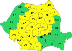 Cod galben de ploi și intensificări ale vântului în 27 de județe