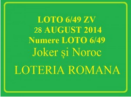 LOTO 6/49, 28 august 2014. Numere Loto 6/49, Joker şi Noroc