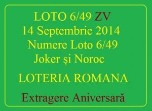 LOTO 6/49, 14 septembrie 2014. Numere Loto 6/49, Joker şi Noroc