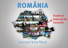 O poză cu Stadionul Național din Varșovia, pe harta României.