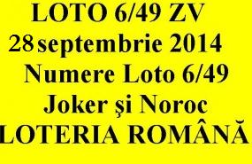 LOTO 6/49, 28 septembrie 2014. Numere Loto 6/49, Joker şi Noroc