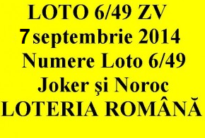 LOTO 6/49, 7 septembrie 2014