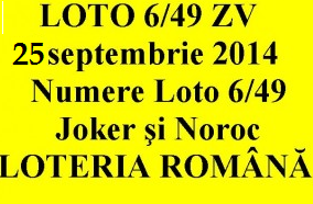 LOTO 6/49, 25 septembrie 2014.