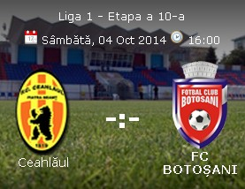 Liga 1, etapa a 10-a: Ceahlaul Piatra Neamț – FC Botoșani