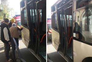 Un tramvai a lovit un autobuz. (Foto: ISU Bucureşti)