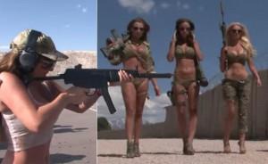 Pictorial cu fotomodele la o bază militară din SUA.