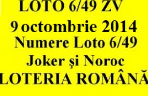 LOTO 6/49, 9 octombrie 2014. Numere Loto 6/49, Joker şi Noroc