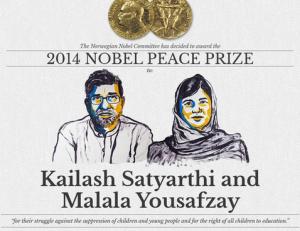Kailash Satyarthi, din India, și Malala Yousafzai, din Pakistan, laureații Nobel pentru Pace.