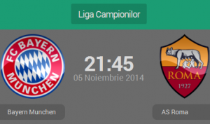 UEFA Champions League, grupa E: Bayern Munchen – AS Roma (live video)