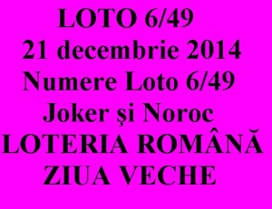 LOTO 6/49, 21 decembrie 2014