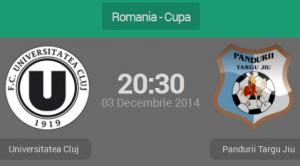 Cupa României, sferturi: Universitatea Cluj - Pandurii Târgu Jiu (live video)